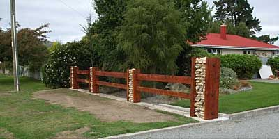 Columns Filled With Rock For A Fence Post Or Landscape