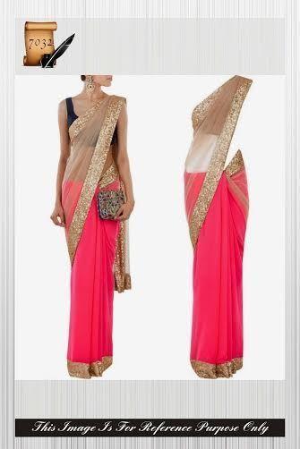 Indian Pink & Beize Bollywood Designer Manish Malhotra Party Net Sari saree