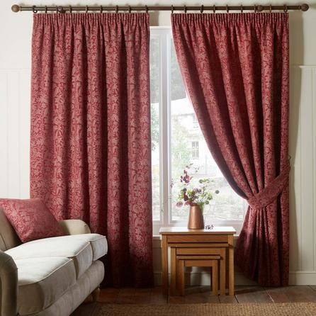 Floral Red Wildflower Pencil Pleat Curtains