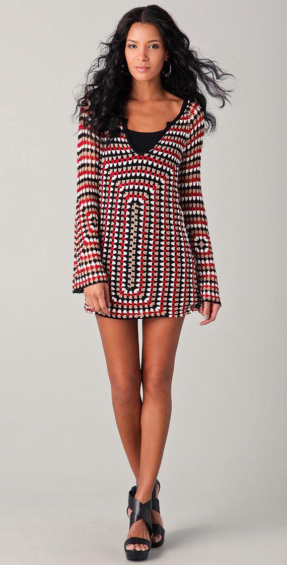 TENDENCIAS de la moda  vestido de crochet por LecrochetArt en Etsy, $400.00