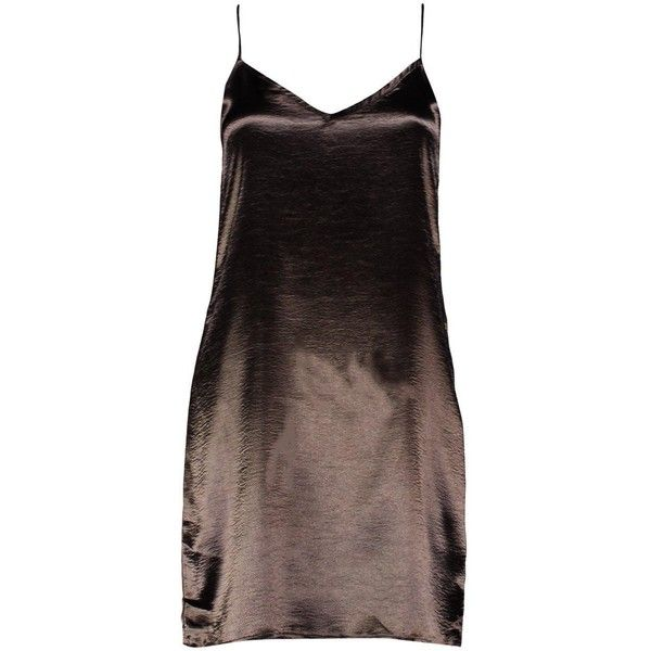 Boohoo Petite Lola Satin Strappy Slip Dress | Boohoo ($30) ❤ liked on Polyvore featuring dresses, slip dress, brown dresses, strappy slip dress, boohoo dresses and strappy dress