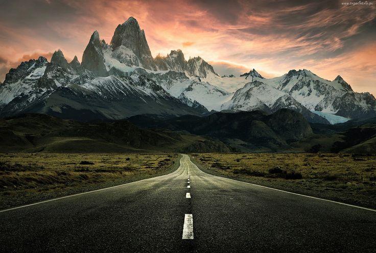 Fitz Roy, Patagonia, Argentyna, Góry, Drogi, Niebo