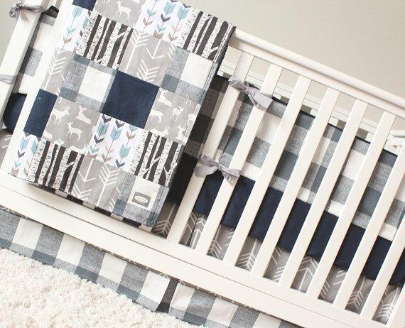 Woodland Nursery Bedding Set Deer Crib Bedding Navy Blue