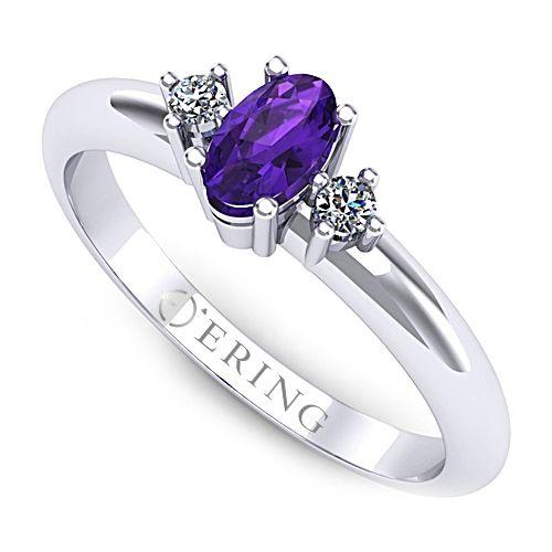 Inel logodna L01AAM inel cu ametist si diamante