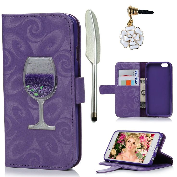 iPhone 6 Plus Case,iPhone 6S Plus Case, MOLLYCOOCLE Stand Wallet Premium PU Leather with Handmade Flowing Glitter Liquid Quicksand Wine Cup Magnetic Protective Skin Cover for iPhone 6 Plus & 6S Plus. Black Friday DEALS -- Compatible with iPhone 6 Plus & 6S Plus (5.5 inch)- Verizon, AT&T, Sprint, T-Mobile, International, and Unlocked. Unique design:It is thoughtfully selected and carefully placed to create a dynamic shimmer, adding further distinction and a unique, elegant look. Dynamic...