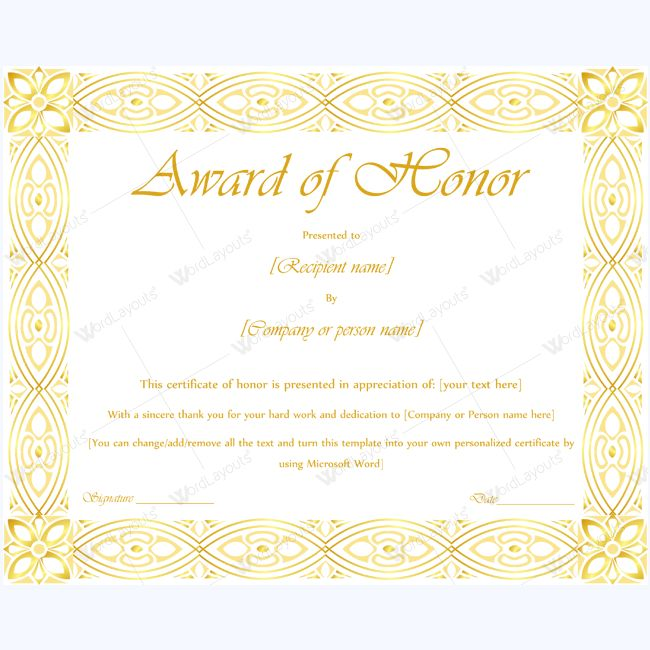 15 best award of honor certificate templates images on Pinterest - ms word certificate template