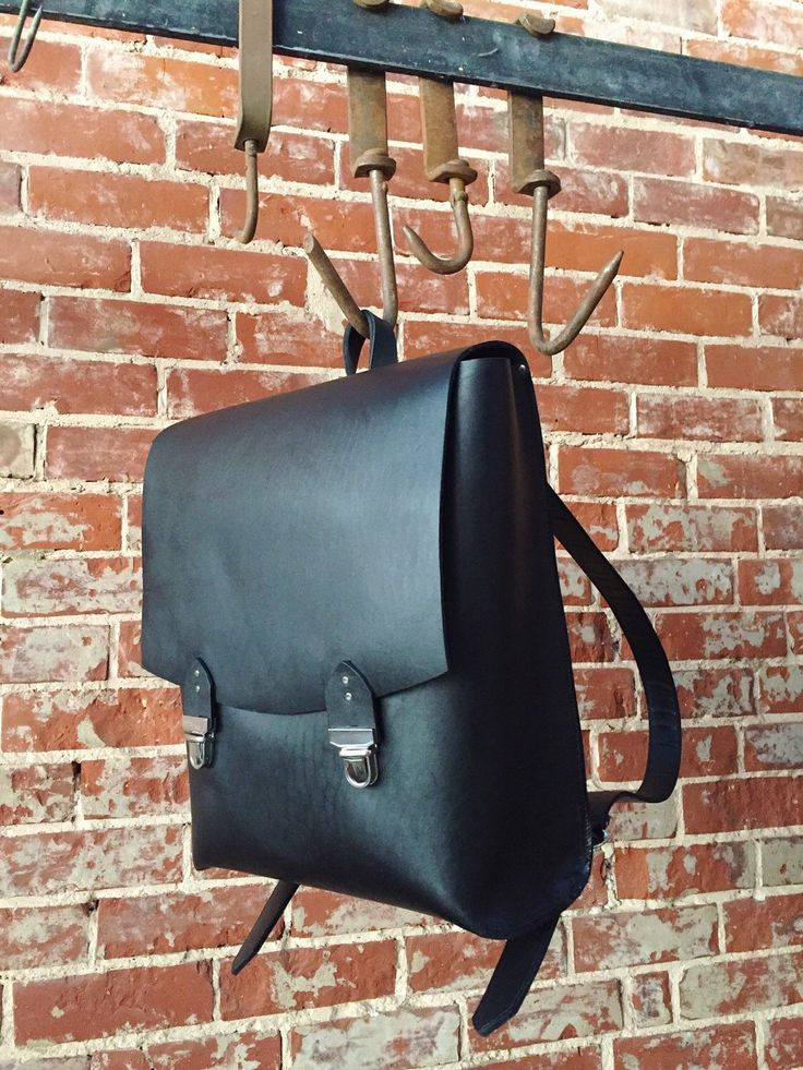 The Old School Backpack - Black leather by TheButcherByrd on Etsy https://www.etsy.com/au/listing/276212194/the-old-school-backpack-black-leather
