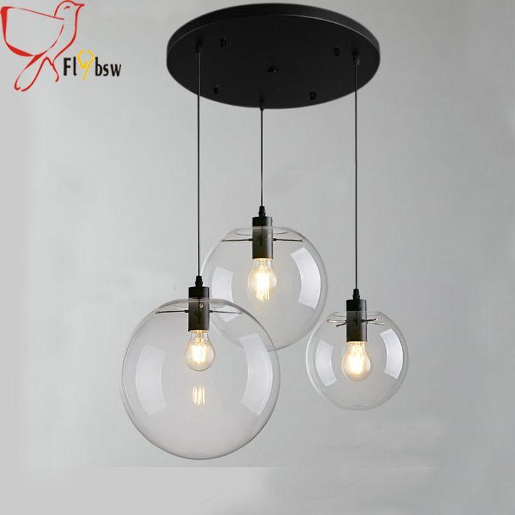 3 heads <b>Modern</b> brief Glass Ball <b>pendant</b> Lamp,clear glass <b>Hanging</b> ...
