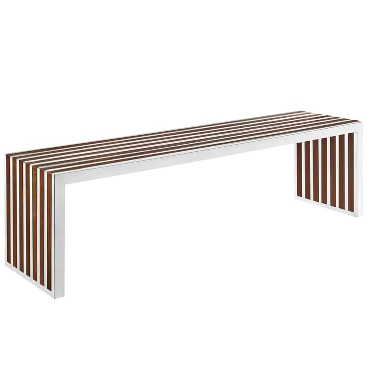 Modway Gridiron Large Wood Inlay Bench EEI-1430-WAL - Modway Gridiron Large Wood Inlay Bench EEI-1430-WALThe conduit design of this Gridiron series installment artfully blends stainless steel tubing with mahogany varnished poplar wood slats. Modernism used to be about extremes. Wild shapes and patterns that don't dare resemble its predecessors. We've reached an age of maturity of sorts. We appreciate style, but all the more, we respect those designs that represent a blending of cultures…