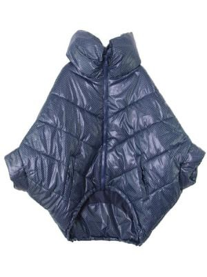 Dark Blue Polka Dot Padded Coat