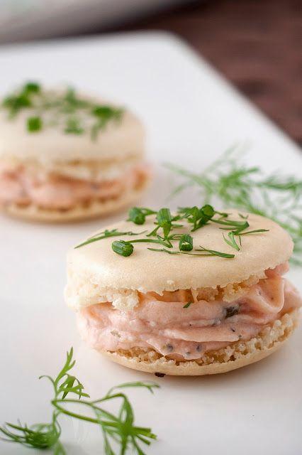 Macarons met gerookte zalm