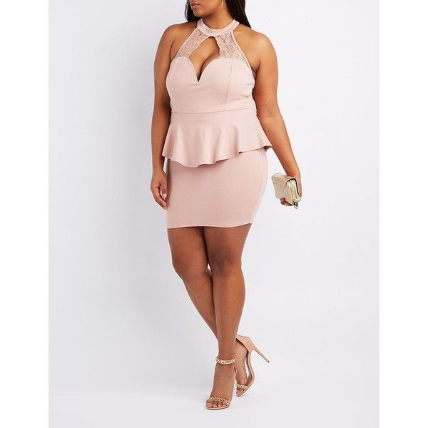 Charlotte Russe Lace-Trim Peplum Bodycon Dress ($20) ❤ liked on Polyvore featuring plus size women's fashion, plus size clothing, plus size dresses, mauve, sexy dresses, sexy peplum dress, peplum dress, plus size bodycon dresses and bodycon dress