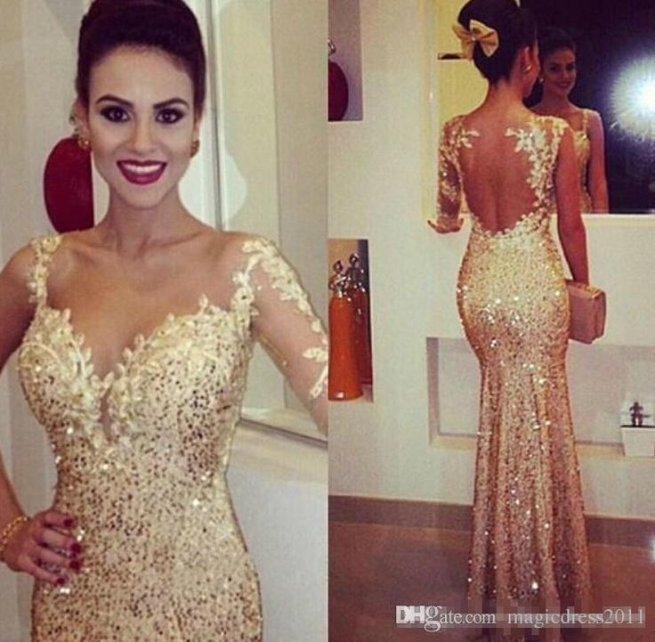 2015 Sparkly Sexy One Long Sleevev Neck Mermaid Party Dresses Gold Glitter Sequins Glitzapplqiue Open Backless Floor Length Prom Gowns Floor Length Prom Dresses Flowy Prom Dresses From Magicdress2011, $117.81| Dhgate.Com