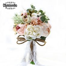 Kyunovia New Camellias Wedding Bouquet Plants Floral Bouquet Gift Lace Handle Keepsake Bouquet Garden Theme Wedding Flowers FE40(China)
