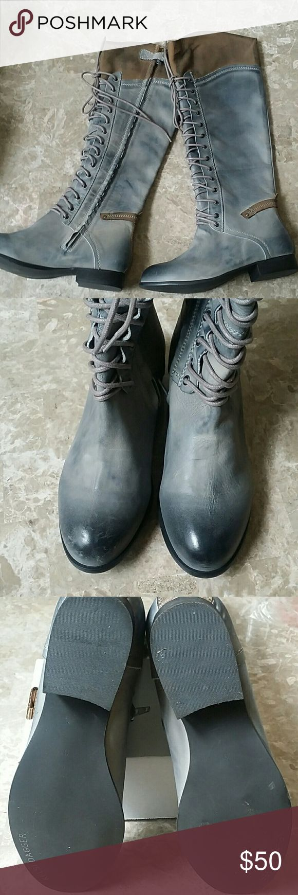 Kelsi  Dagger Boot Tall Kelsi Dagger distressed riding boot, gray and tan, Sz 9, Excellent condition, only worn a few times Kelsi Dagger Shoes Lace Up Boots