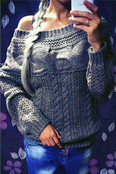 Chicloth Grey Chic Boat Neck Long Sleeve Chunky Sweater