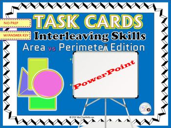 This is a Power Point file for the Task Cards on Area and Perimeter which can be found here:- Geometry Task Cards: Area and Perimeter Interleaving Practice and Mixed ReviewStudents will practice finding missing values of width, length, radius, diameter, height of various 2-D figures  by working through these 23 task cards.This set allows to practice with Area and Perimeter formulas of triangles, circles, rectangles and squares.