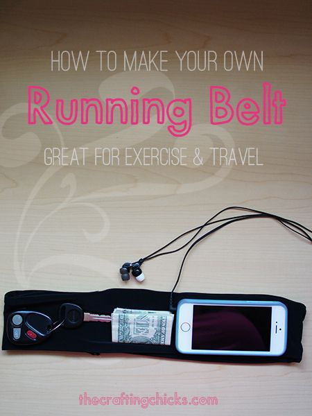 DIY Running Belt. No more heavy armbands. Holds keys, money, and phone so you can run with your hands (and arms) free!