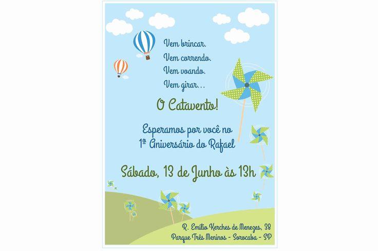 Convite - Tema Cataventos e Balões