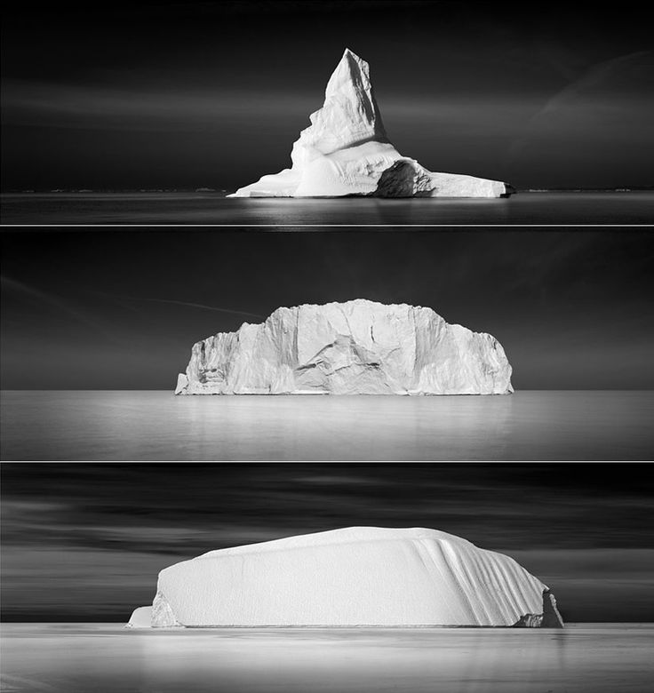 Icebergs black and white photography by david burdeny