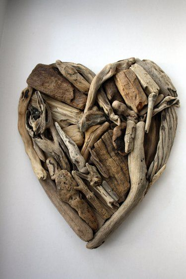 Driftwood heart by Yalos   This gives me a great idea for all the shells and driftwood I've collected