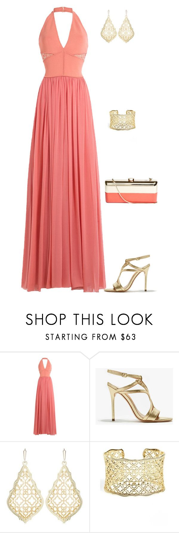 """outfit 5984"" by natalyag ❤ liked on Polyvore featuring Elie Saab, Halston Heritage, Kendra Scott and GUESS by Marciano"