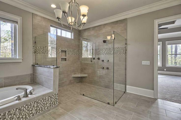 Transitional Master Bathroom with Pendant light, slate tile floors, Crown molding, frameless showerdoor, High ceiling
