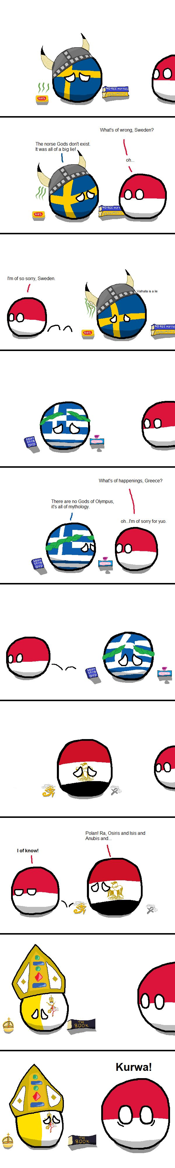 """""""Ancient Religions"""" ( Sweden, Greece, Egypt, Vatican, Poland ) by Flying Blue Wolf  #polandball #countryball"""