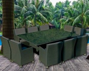 Extra Large 10 Seater Outdoor Dining Set - Rattan Wicker Furniture Charcoal