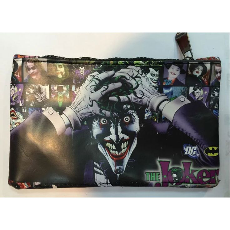Cartoon Anime Joker Purse Pen Pencil Leather Zipper Bags Wallet carteira Dollar Price Joker Animation Stationery Pen Wallets