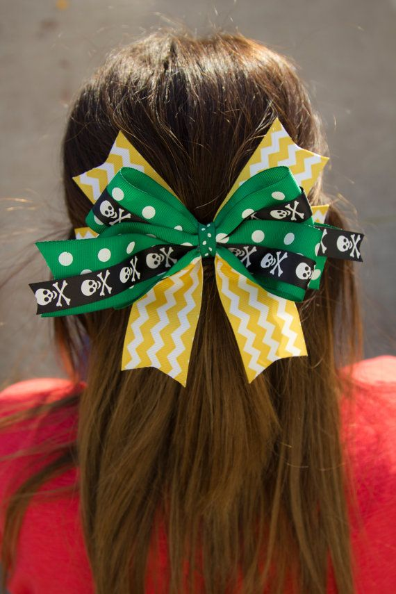 School Spirit Hair Bow with AntiSlip by robynperlmandesigns