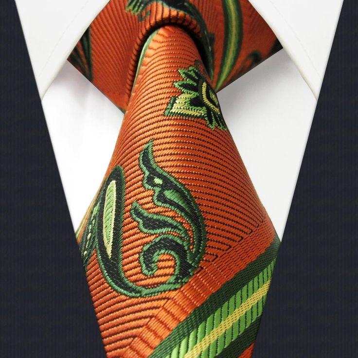 Q11 Paisley Stripes Orange Yellow Green Black Mens Necktie Ties 100% Silk Jacquard Woven Slim Tie Bow Ties Uk From Duckxin, $4.19| Dhgate.Com