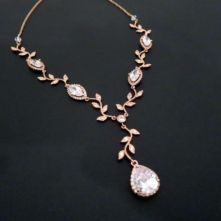 Bridal necklace, Rose Gold necklace, Rose gold bridal jewelry, Crystal Wedding necklace, Crystal necklace, Bridesmaid necklace by treasures570 on Etsy https://www.etsy.com/listing/196985073/bridal-necklace-rose-gold-necklace-rose