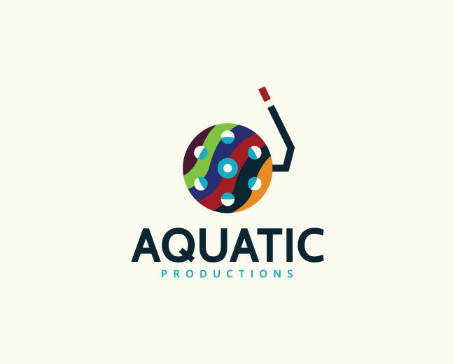 Stylized logo in the shape of a film in conjunction with a swimming breathing tube composed of abstract shapes with purple, blue, green, yellow and red colors.( logo for sale, company, Media, aquatic, aqua, marine, production, digital, film, tube, studio, photograph, photo, logo).