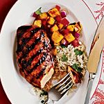 Hawaiian Chicken Recipe | MyRecipes.com 1/4 cup pineapple juice $ 2 tablespoons ketchup $ 2 tablespoons lower-sodium soy sauce 1 1/2 teaspoons minced peeled ginger 2 garlic cloves, minced $ 4 (6-ounce) skinless, boneless chicken breast halves $ Cooking spray $ 3/4 teaspoon salt, divided $ 1/4 teaspoon black pepper $ 2 cups hot cooked long-grain wh