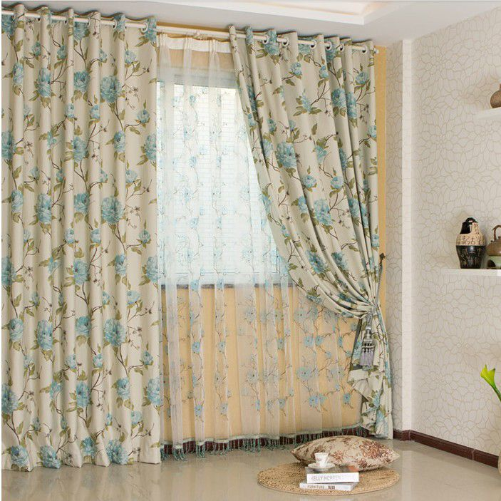 country floral printed cotton and poly curtains two panels buy beige print blackout