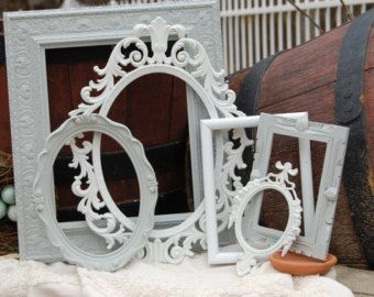 Shabby Chic PICTURE FRAMES Set Of 5 Upcyled by rusticathart