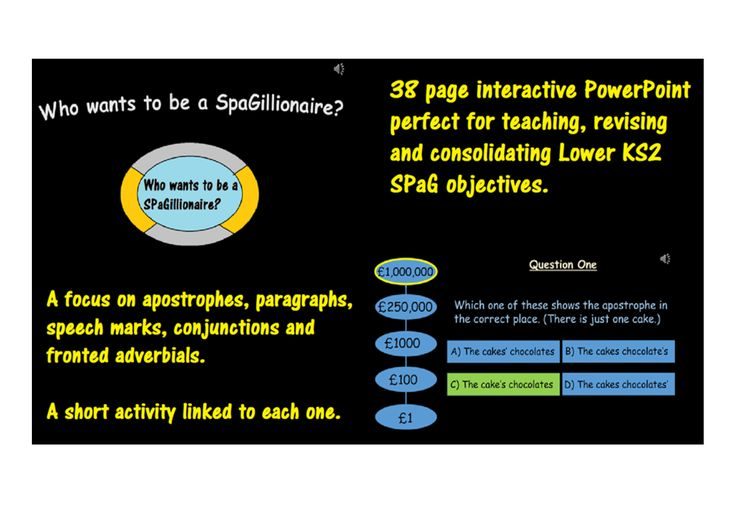SPaG game in the style of 'Who wants to be a millionaire?' complete with five short activities.
