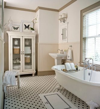 Clawfoot Tub Shower Design Ideas, Pictures, Remodel and Decor - this is the cabinet I want in the bathroom!