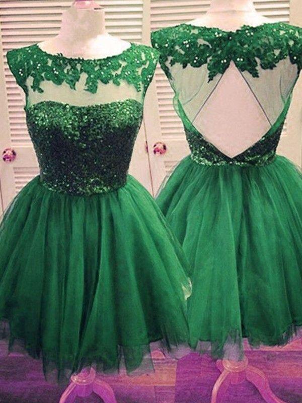 3f019030a7 A-Line Princess Bateau Sleeveless Tulle Applique Short Mini Dresses - Short  Prom Dresses - Prom Dresses - Hebeos Online