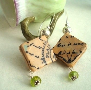 Letters from home Polymer clay earrings by pjlacasse on Etsy, $25.00