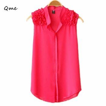 女性はシフォンブラウスcamisas femininas blusaノースリーブ赤シャツ付きフリルプラスサイズブラックホワイトblusas feminina wd070