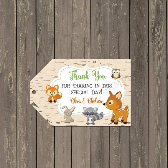 Woodland Animals Favor Tags, Woodland Baby Shower Tags, Forest Animals Bag Tags, Birch Thank you tags, Printable