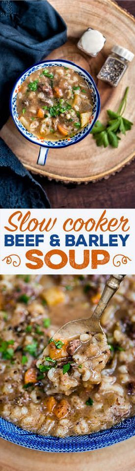 Hearty and delicious slow cooker beef and barley soup - the ultimate winter warmer