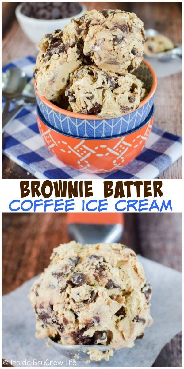 Swirls of brownie batter make this no churn coffee chocolate chip ice cream a fun and delicious treat any time of year!