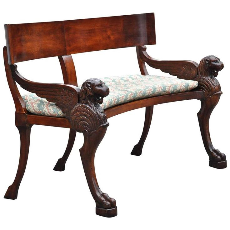 Rare 19th Century Walnut Klismos Bench 1