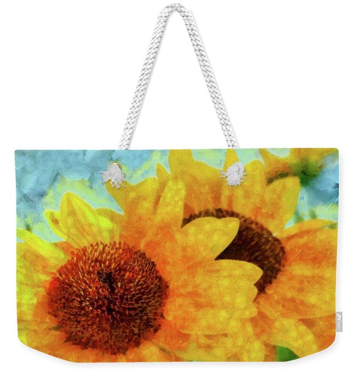 Sunflower Weekender Tote Bag featuring the painting Sunflowers by Grigorios Moraitis