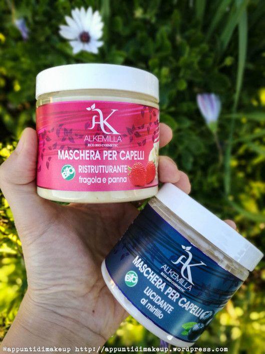Alkemilla Eco Bio Cosmetics  Maschera capelli ristrutturante alla fragola e panna e Maschera capelli lucidante al mirtillo