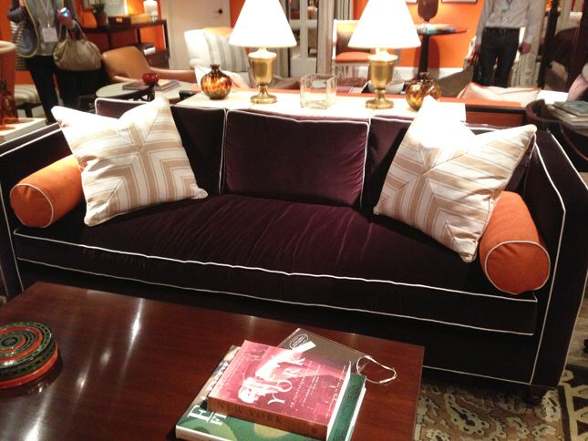 Deep Burgundy Wine Silk Velvet Sectional With Ivory Or
