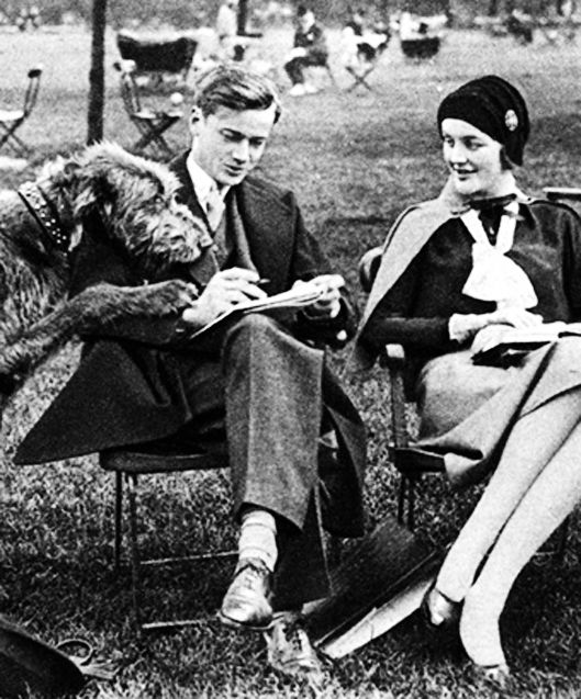 Bryan and Diana Guinness (and their giant Irish wolfhound) in Hyde Park, 1930.